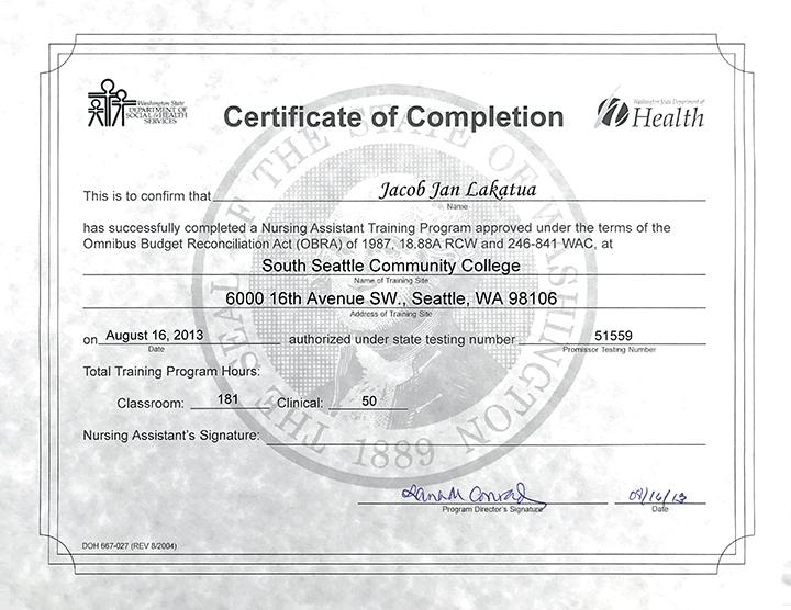 nac nursing certificate completion assistant sscc community certifications seattle college august south achievements